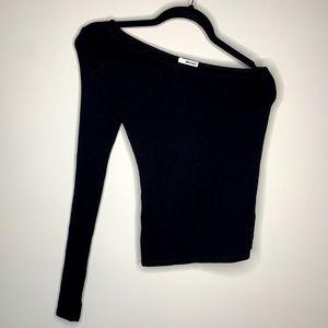 LA Made Black One Shoulder Asymmetrical Top XS